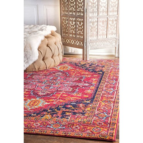 Mistana Christophe Blooming Pink Orange Area Rug Walmart Com