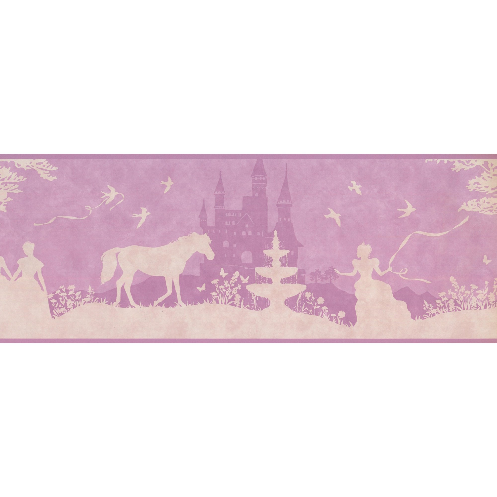 Sensational Princess Castle Horse Beige Mauve Purple Wallpaper Border For Kids Bedroom Bathroom Playroom Roll 15 X 9 Interior Design Ideas Gentotryabchikinfo