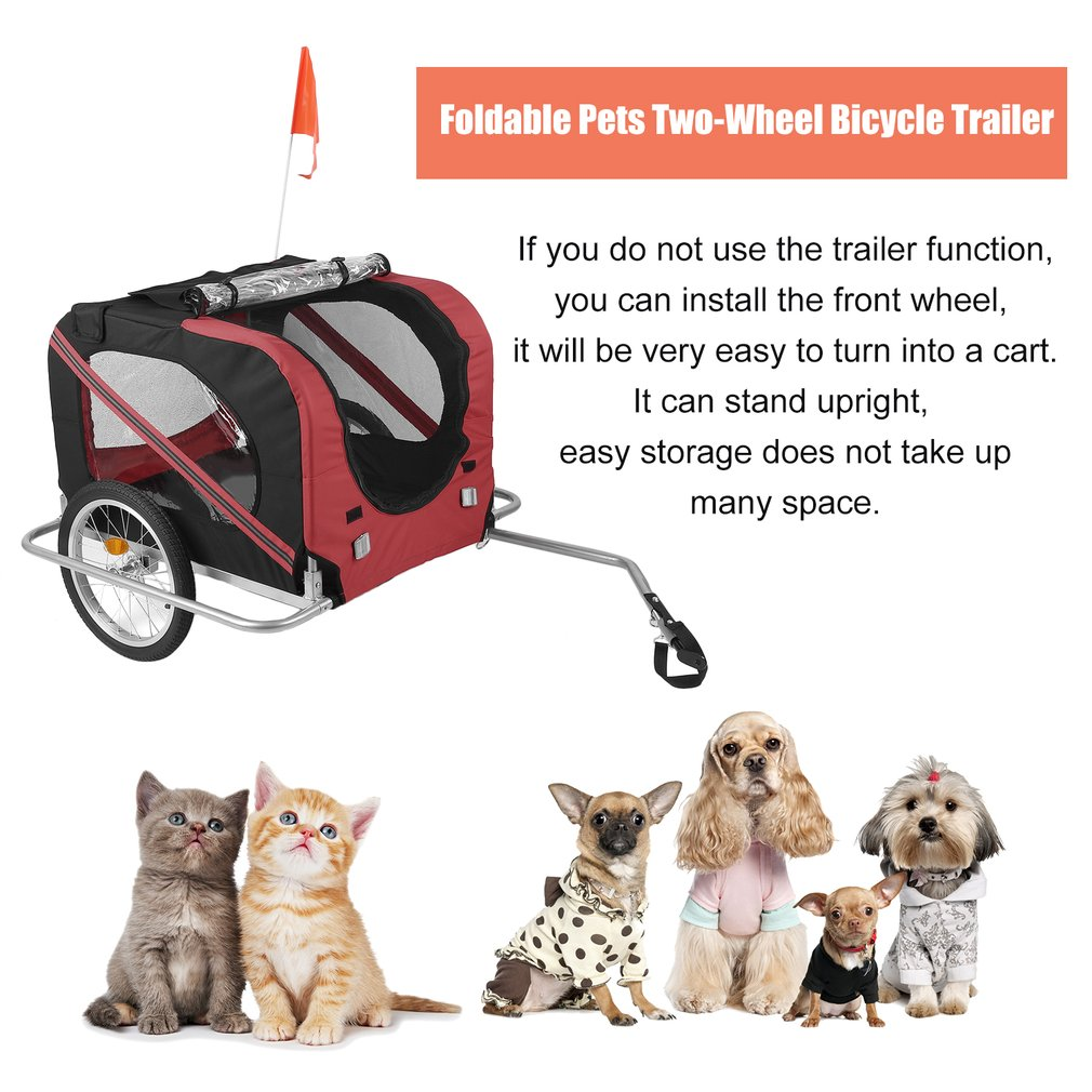 Foldable Pets Two-Wheel Bicycle Trailer Dogs Cats' Bike Carrier Stroller Cart