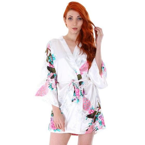 Simplicity - Women s Peacock   Blossoms Printed Bridal Kimono Short Robe  Nightwear 619205bc4