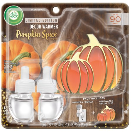 Air Wick Plug in Scented Oil Starter Kit with Pumpkin Décor Clip (Warmer + 2 refills), Pumpkin Spice, Air Freshener, Essential Oils, Fall Scent, Fall