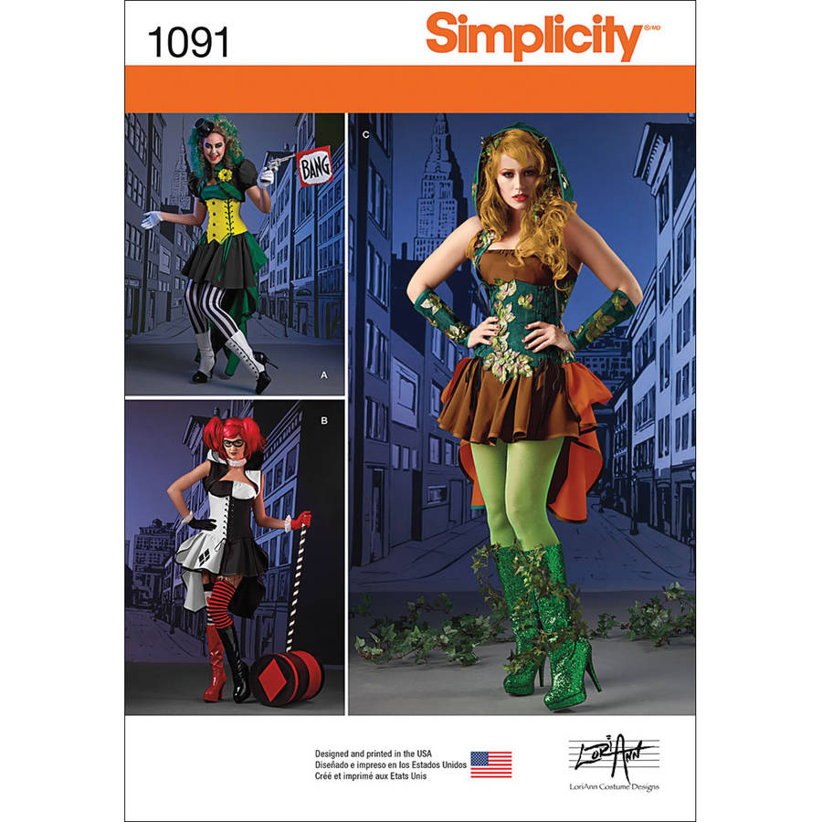 Simplicity Misses' Super Villainess Costumes, 14-16-18-20-22