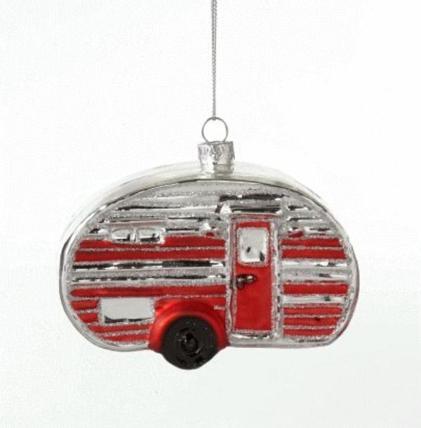 Red and Silver Outdoors Teardrop Camper Glass Holiday Ornament