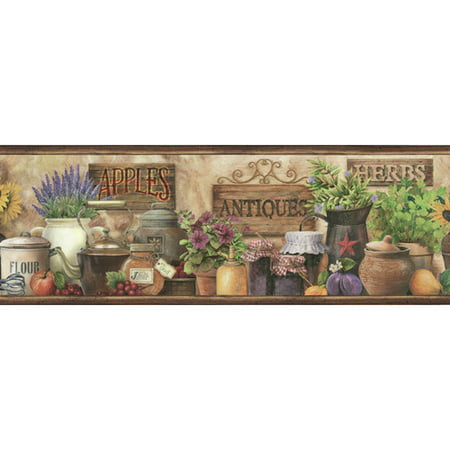 Brewster Home Fashions Pure Country Brittany Herbs Antiques Portrait 15' x 6'' Food 3D Embossed Border (Antique Wallpaper)