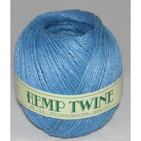 100% Hemp (1mm 20# Hemp Twine Cording 100% Natural Organic - 20# 1mm approx. 410ft -COLOR LIGHT BLUE, Hemp Twine COLOR: LIGHT BLUE By ROCKYMART)