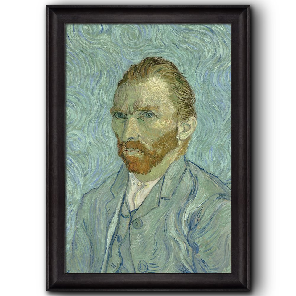 wall26 - Self-Portrait by Vincent Van Gogh - Oil Painting, Impressionist, Artist - Framed Art Prints, Home Decor - 16x24 inches