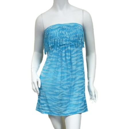 Bongo Junior Womens Blue Swim Suit Cover Up Neon Zebra Strapless Sun Dress
