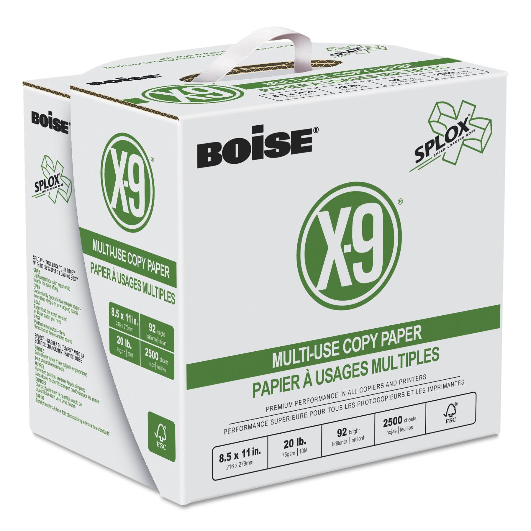 Boise X-9 SPLOX Multi-Use Copy Paper, 3-Hole, 92 Bright, 20lb, 8.5x11, White, 2500/CT