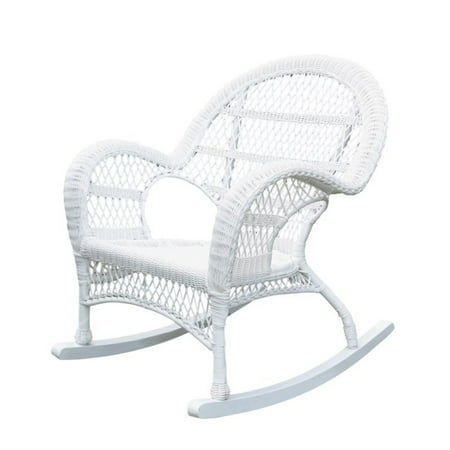 Pemberly Row Rocker Wicker Chair in White ()