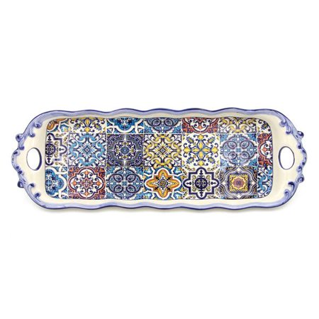 - Hand-painted Portuguese Decorative Ceramic Serving Tart Tray