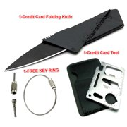 Credit Card Tool with 11 in 1 Functions  Folding Credit Card Knife Kit Plus FREE Stainless Steel Keyring