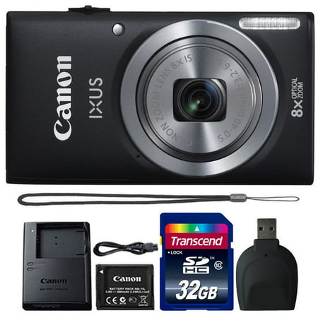 Canon Powershot Ixus 185 / ELPH 180 20MP Compact Digital Camera Black with 32GB Accessory Bundle