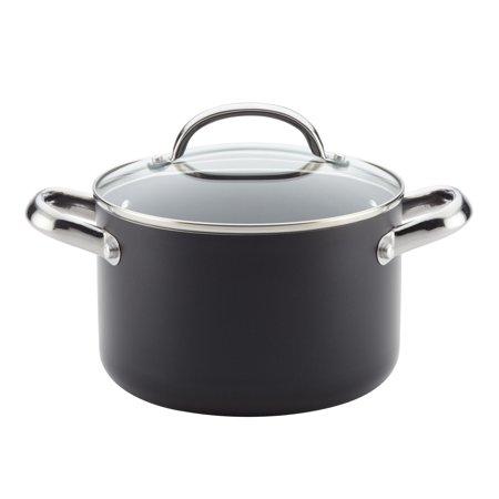 Farberware Buena Cocina Aluminum 4 Quart Non-Stick Black Covered Soup Pot