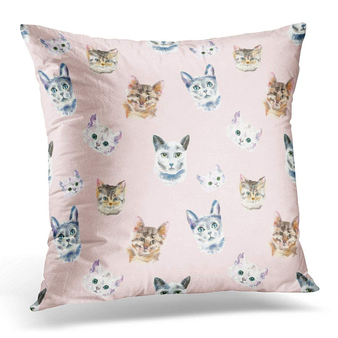 ARHOME Blue British of Watercolor Cats Animal Painting Kids Pink Pattern Kitten Head Brown Cute Pillow Case Pillow Cover 20x20 inch