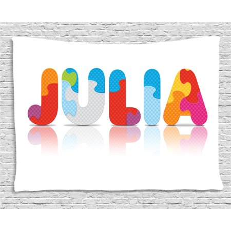 Julia Tapestry, Puzzle Style Colorful Letters Preschool Theme Girl Name with Roman Mythology Roots, Wall Hanging for Bedroom Living Room Dorm Decor, 80W X 60L Inches, Multicolor, by Ambesonne