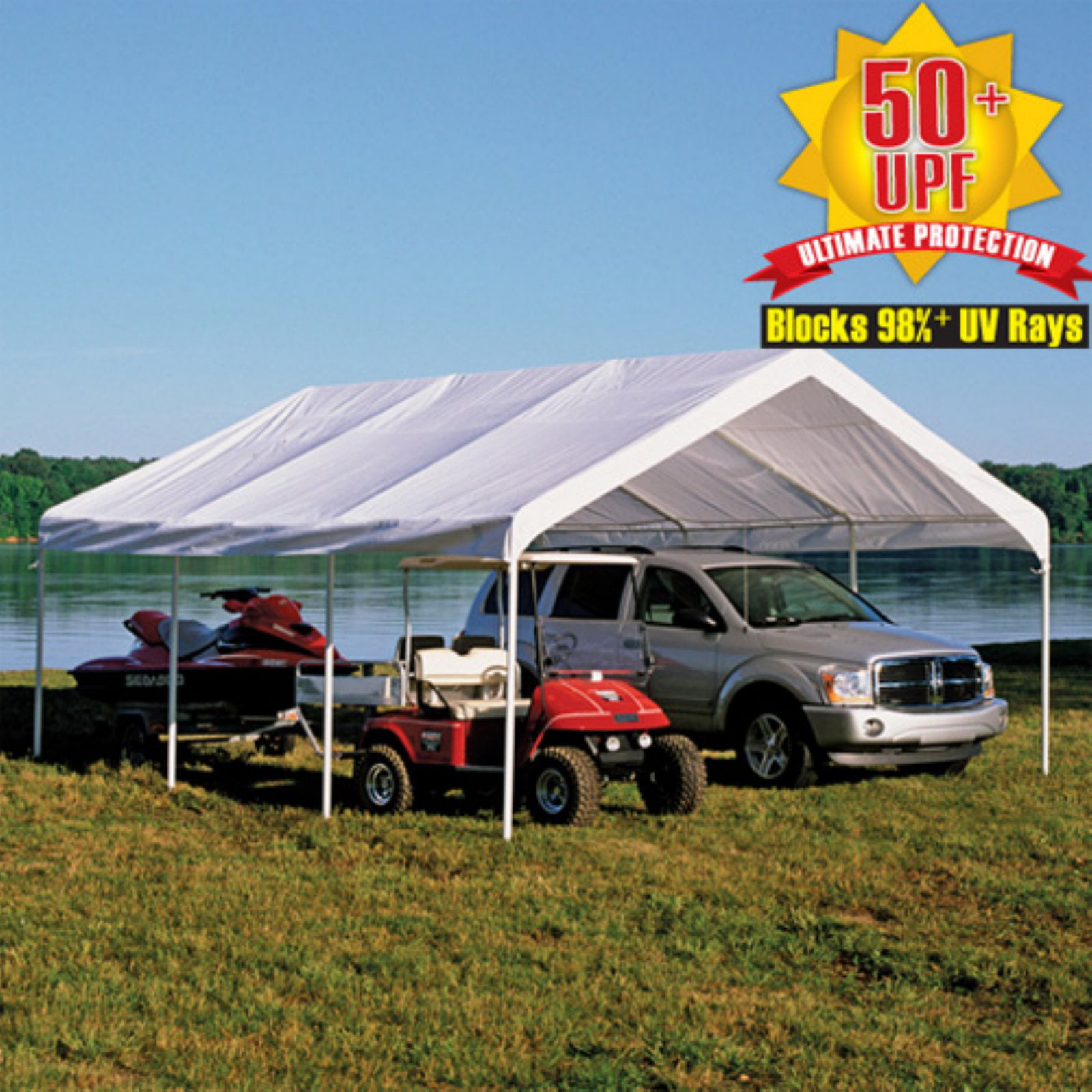 """Shelterlogic Super Max 18' x 20' Premium Canopy Replacement Cover Fits 2"""" Frame, White by ShelterLogic"""