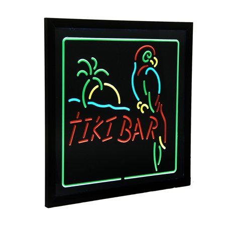 Hanging Electric Parrot & Palm Tiki Bar LED Wall Sign 20 x 20 inch (Led Bar Signs)