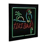 Hanging Electric Parrot & Palm Tiki Bar LED Wall Sign 20 x 20 inch