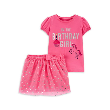 Child of Mine by Carter's Baby Girls & Toddler Girls Birthday T-Shirt & Tutu Skirt, 2-Piece Outfit Set (12M-4T)