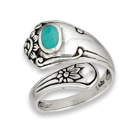 Open Simulated Turquoise Unique Vintage Spoon Ring Sterling Silver Thumb Band Size 9 Persian Turquoise Ring
