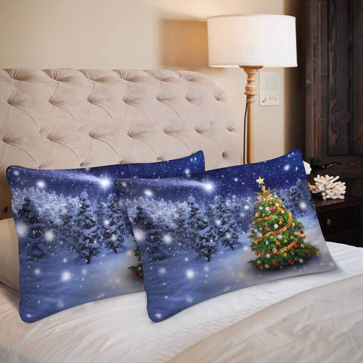 GCKG Christmas Tree Snowy Night Star Christmas Pillow Cases Pillowcase 20x30 inches Set of 2 - image 1 de 4