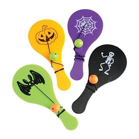Lot Of 12 Assorted Halloween Theme Plastic Mini Paddle Ball Games - Halloween Themed Games For Work
