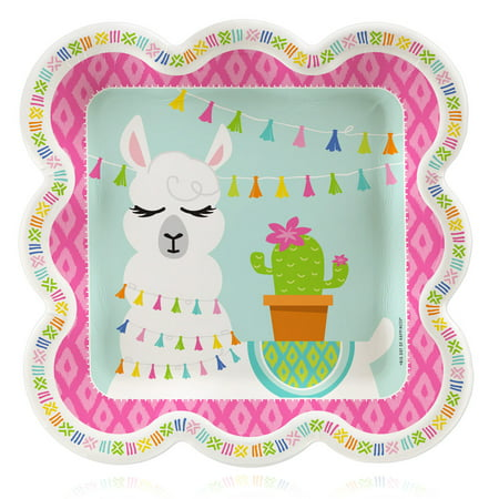 Whole Llama Fun - Llama Fiesta Baby Shower or Birthday Party Dinner Plates (16 Count) (Party Stores In Ct)