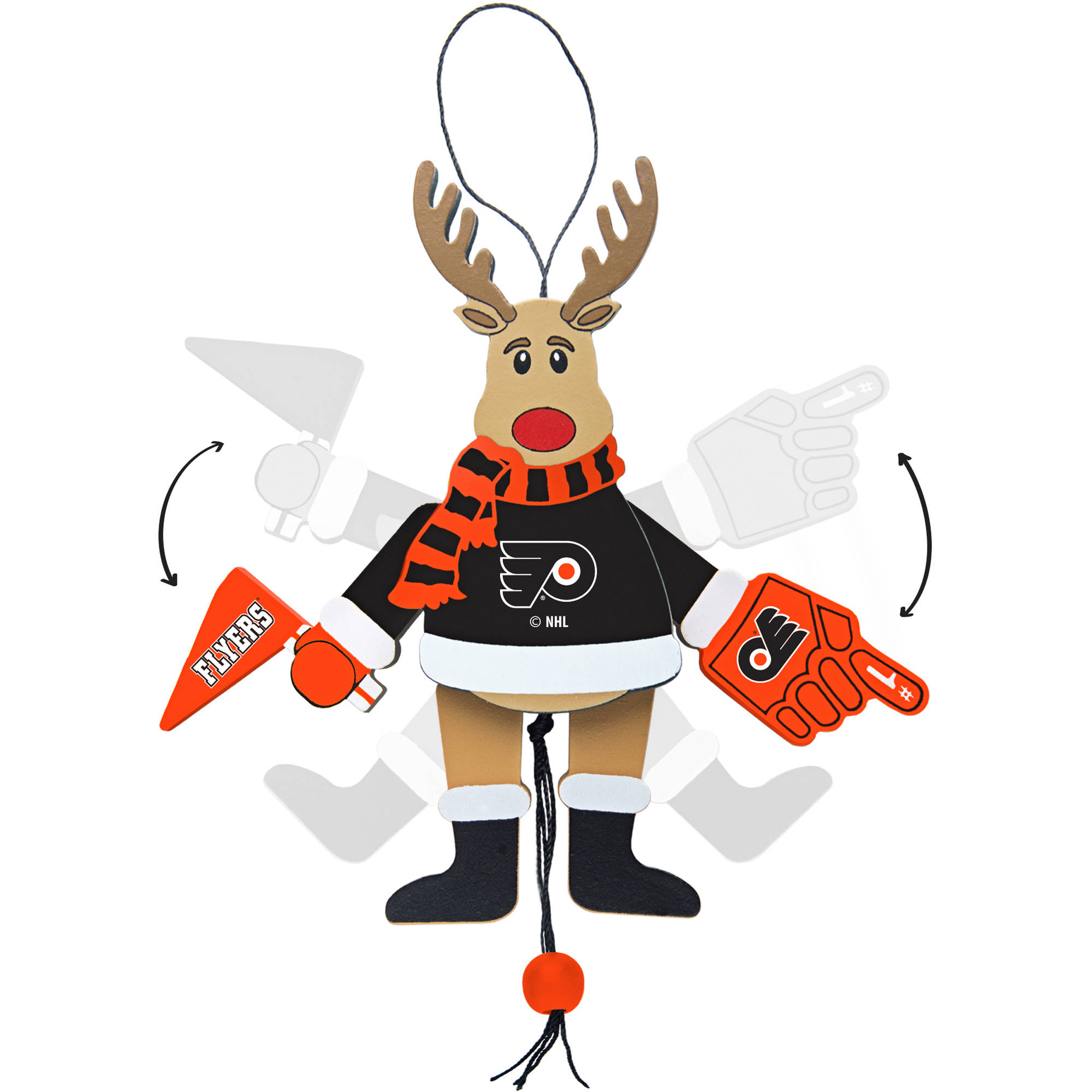 Topperscot by Boelter Brands NHL Wooden Cheering Reindeer Ornament, Philadelphia Flyers