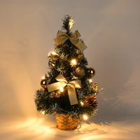 ZEDWELL 40CM Tall Battery Powered Luxury Tabletop Christmas Tree Hanging Decorations Pine Tree (Battery Not Included)