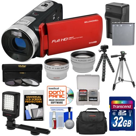 Progressive Scan Video Cameras (Bell & Howell Fun Flix DV50HD 1080p HD Video Camera Camcorder (Red) + 32GB + Battery + Charger + Case + Tripod + LED + Filters + Tele/Wide Lens Kit )