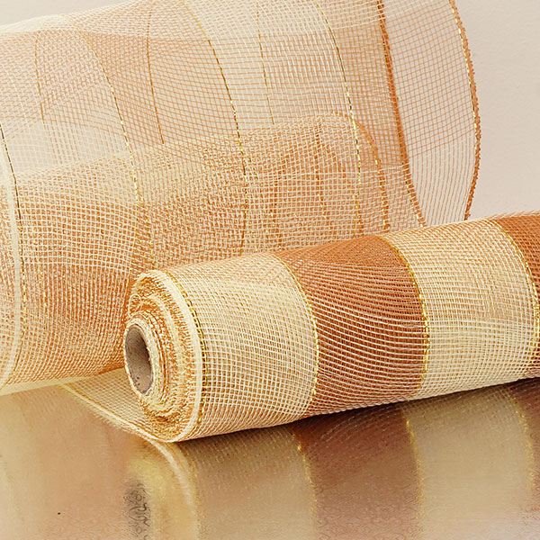 "10""X10 Yards Ivory/Brown 2-Colored Wide Stripe Deco Mesh by Paper Mart"