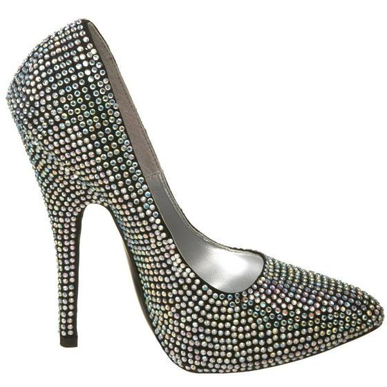 SCANDAL 620R, 5 12'' Spike Heel Rhinestone Pump Shoes
