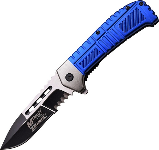 M-Tech A897BL Assisted Blue Survival Serrated Folding Knife Pocket Folder