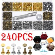 240 Set Leather Rivets Double Cap Rivet Tubular Metal Studs 2 Sizes with Punch Pliers and 3 Pieces Setting Tool Kit for Leather Craft Repairs Decoration