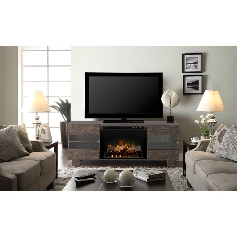 """Dimplex Max Media Console Electric Fireplace With Logs for TVs up to 50"""", Elm Brown"""