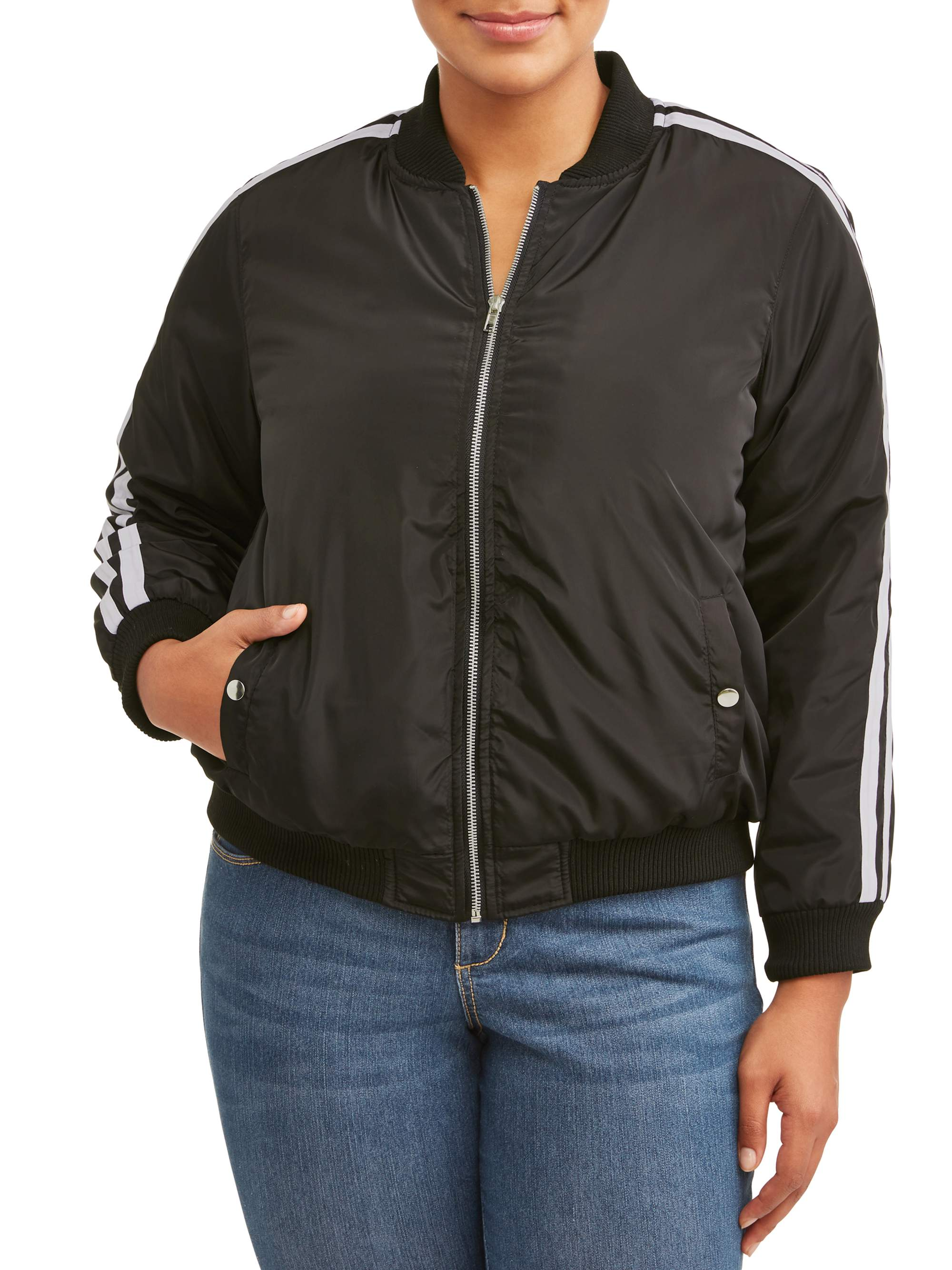 Women's Plus Size Striped Track Bomber Jacket
