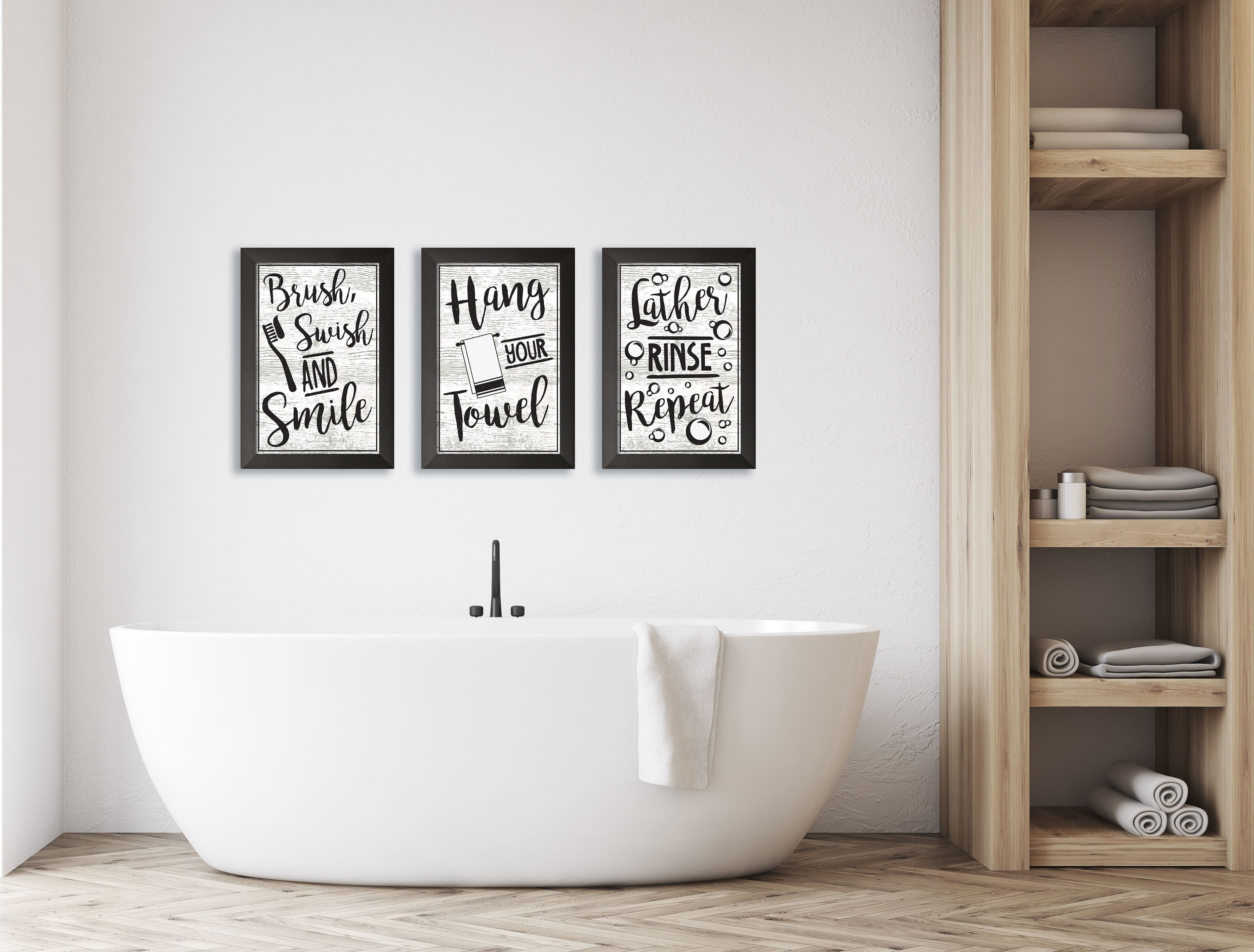 Rose Gold Lather Rinse Repeat Bathroom Quote Wall Art Print
