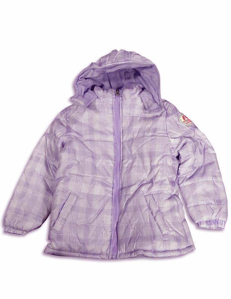 Pink Platinum - Baby Girls Plaid Hooded Parka Jacket Purple Plaid / 24 Months