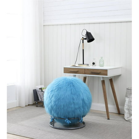 Posture Ball Chair - GoodGram Premium Posture Fuzzy Exercise Yoga Ball Chair Set - Blue