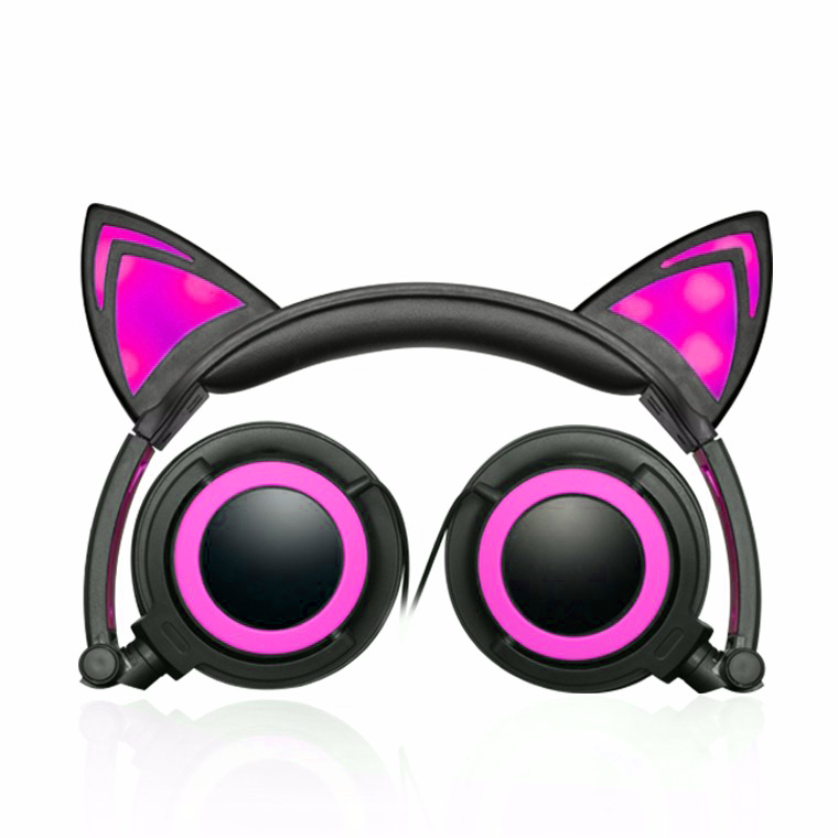 Jamsonic LED Light Up Foldable Cat Ear Headphones use for Phones, PC, MP3, MP4