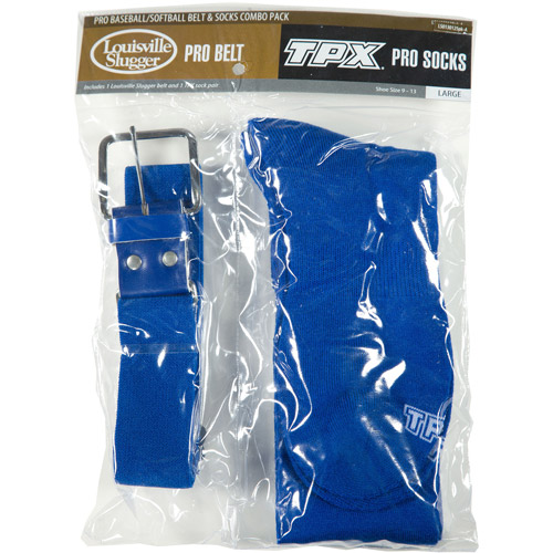 Louisville Slugger Boys' Solid Baseball Sock and Belt Combo Pack, Royal
