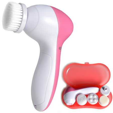 Electric Facial Cleansing Brush System Battery Operated Face Cleanser Spin Massager w/ 5 Heads