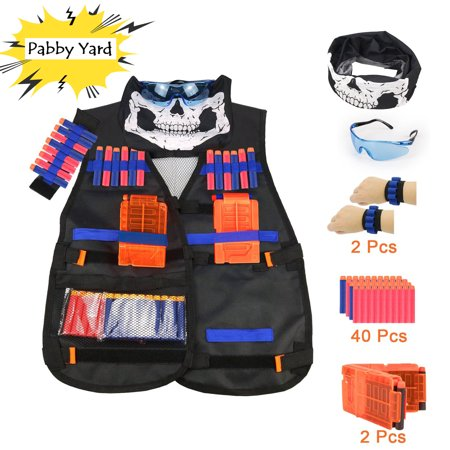 Kids Tactical Vest Kit, Children Elite Tactical Vest Kit For Nerf N-strike Elite Series with Quick Reload Clips + Hand Wrist Band + Protective Glass + Tactical Mask + 40 Refill Bullet Soft