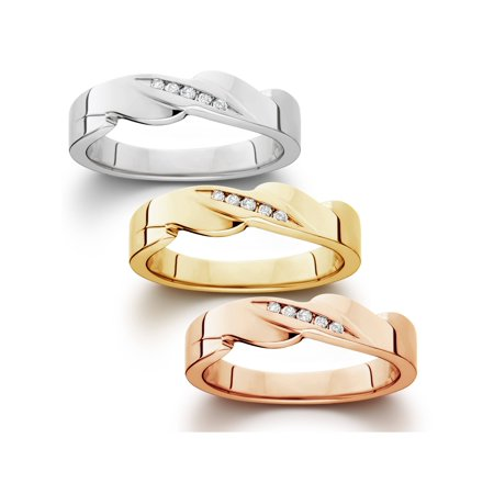 Men's Diamond High Polished Wedding Ring Available In White Yellow Or Rose Gold