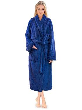 PAVILIA Premium Womens Plush Soft Robe Fluffy, Warm, Fleece Sherpa Shaggy Bathrobe (S/M, Blue)