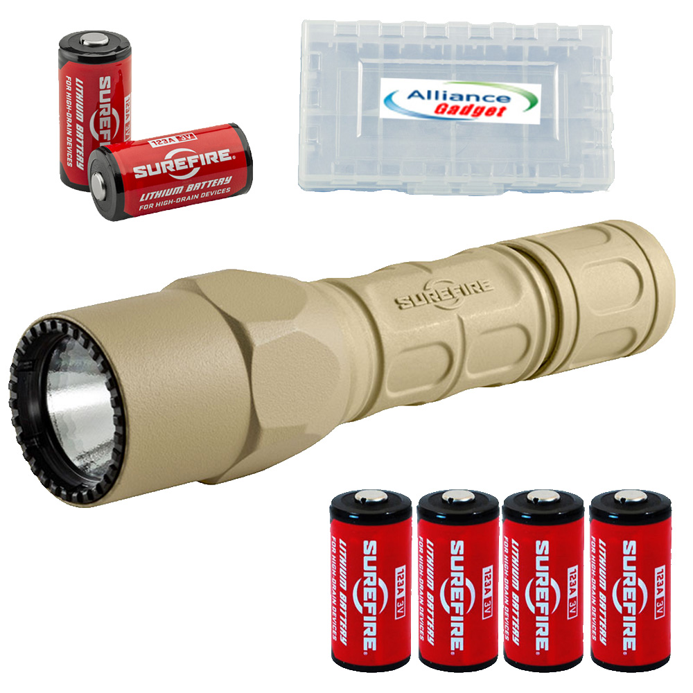 Surefire G2X Pro 600 Lumen Dual-Outputs LED Flashlight with 4 Extra CR123A Batteries and Alliance Gadget Battery Case (Tan)