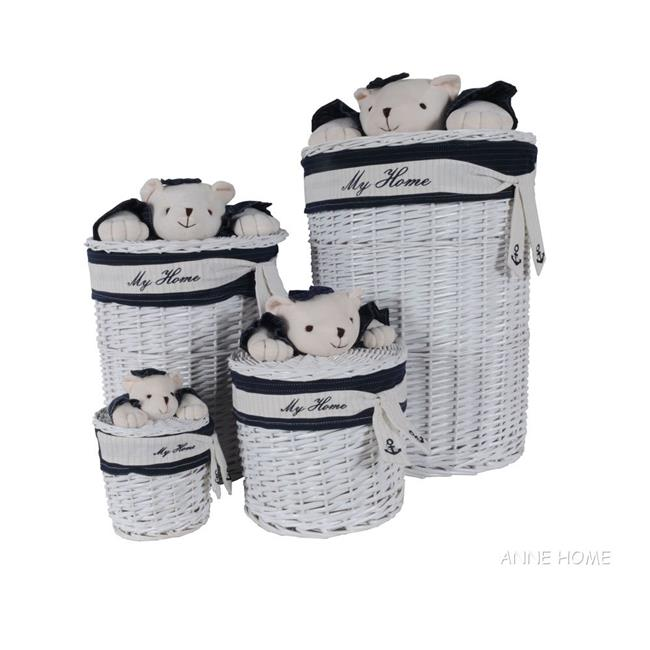 Old Modern Handicrafts AB016 Oval Willow Baskets with Bear Design Pack of 4 by Old Modern Handicrafts