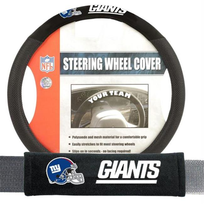 Fremont Die FMT-93175 New York Giants NFL Steering Wheel Cover and Seatbelt Pad Auto Deluxe Kit - 2 Pc Set