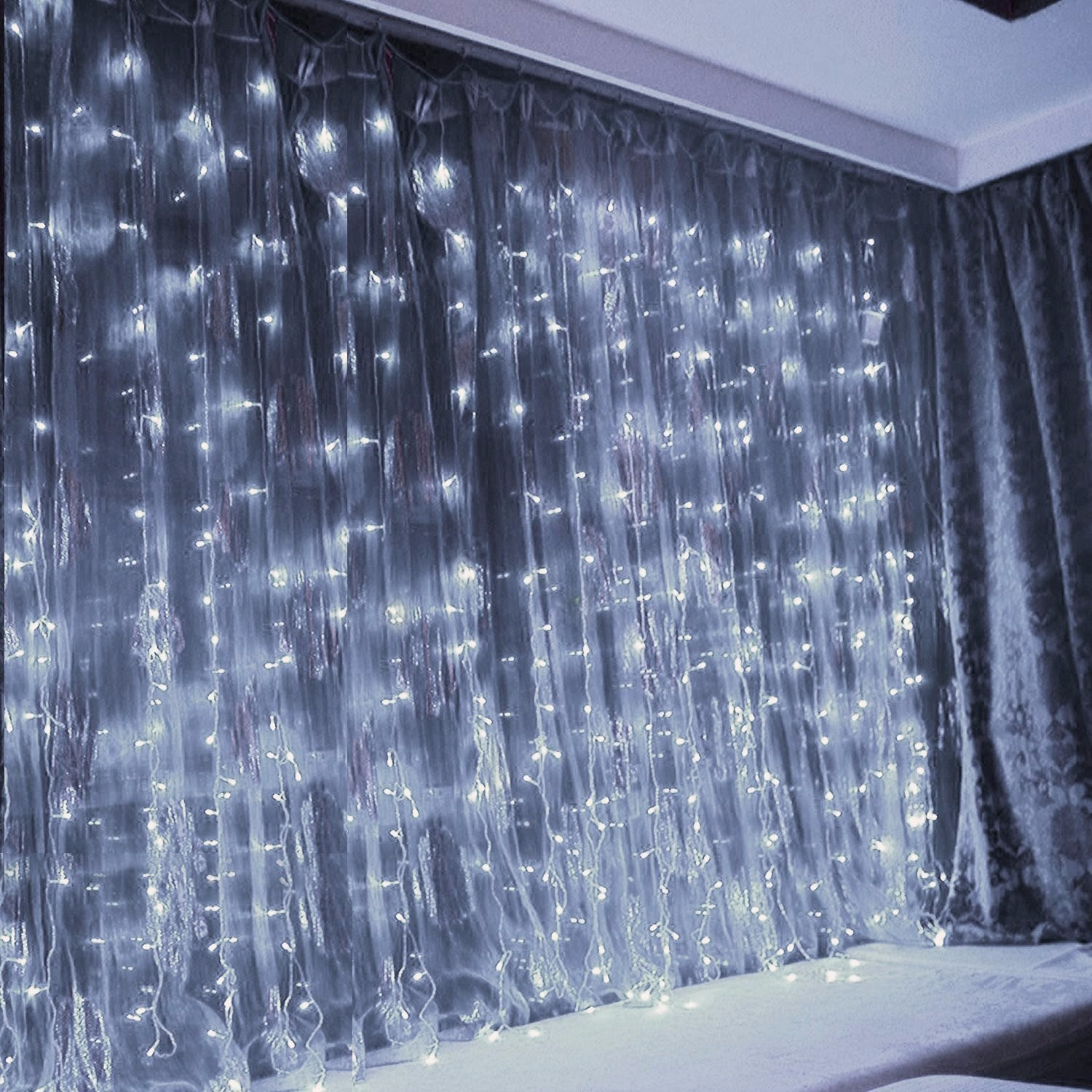 TORCHSTAR 19.7ft x 9.8ft LED Curtain Lights, Starry Christmas String Light, Indoor Decoration for Festival, Wedding, Party, Living Room, Bedroom, Daylight