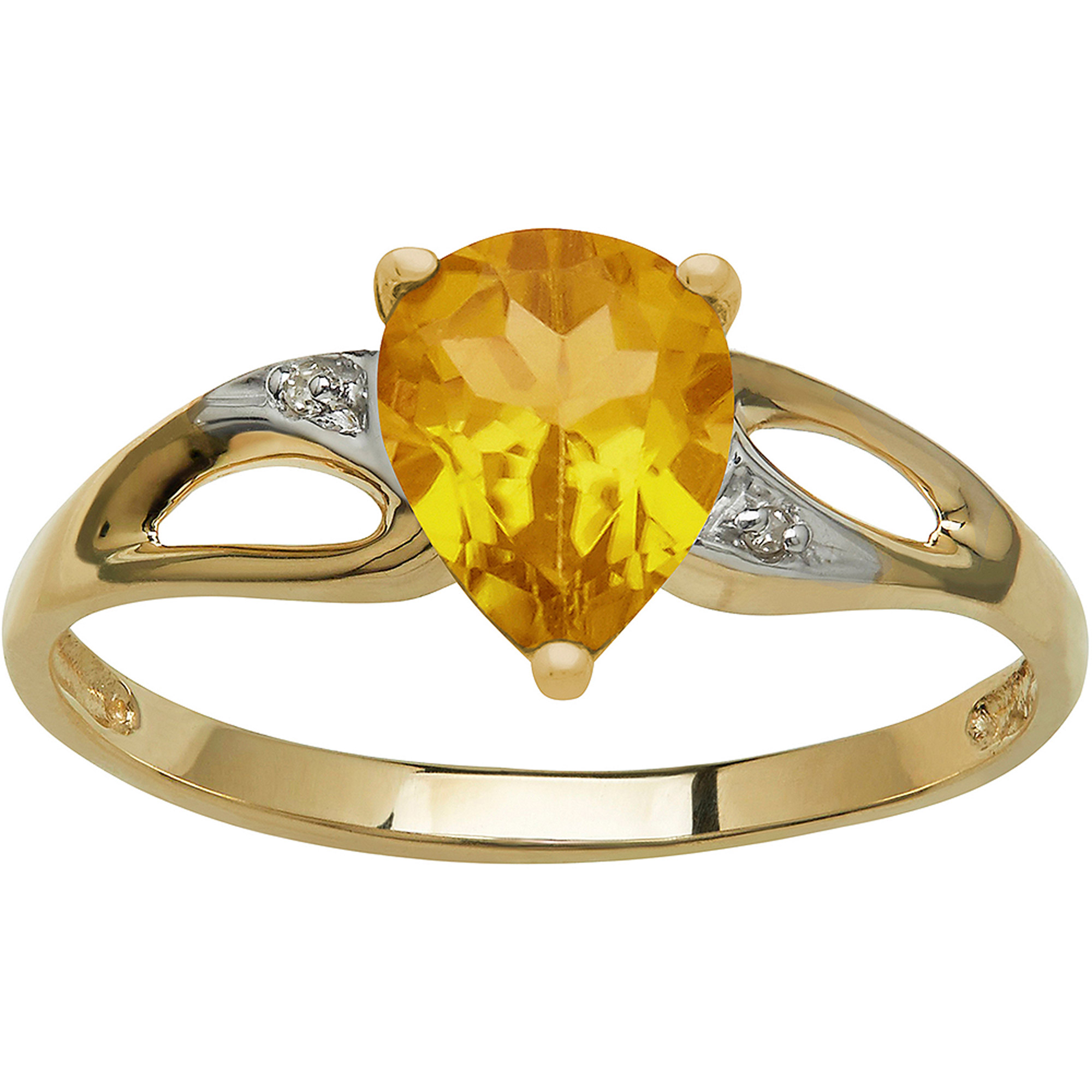 Citrine and Diamond Accent 10kt Yellow Gold Ring, Size 7